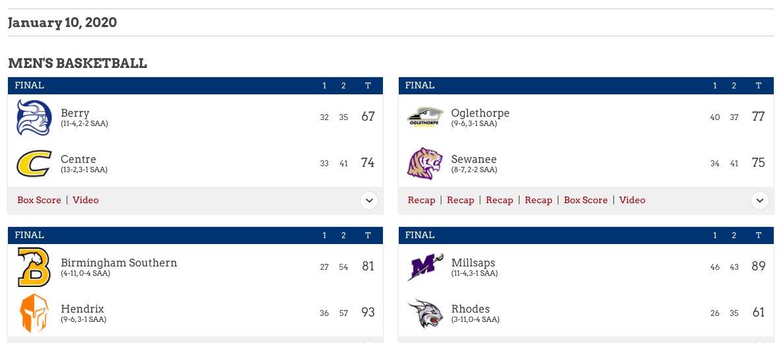 🏀🗑️ | @SAA_Sports Scoreboard - Men's Basketball - #SAA #d3hoops
