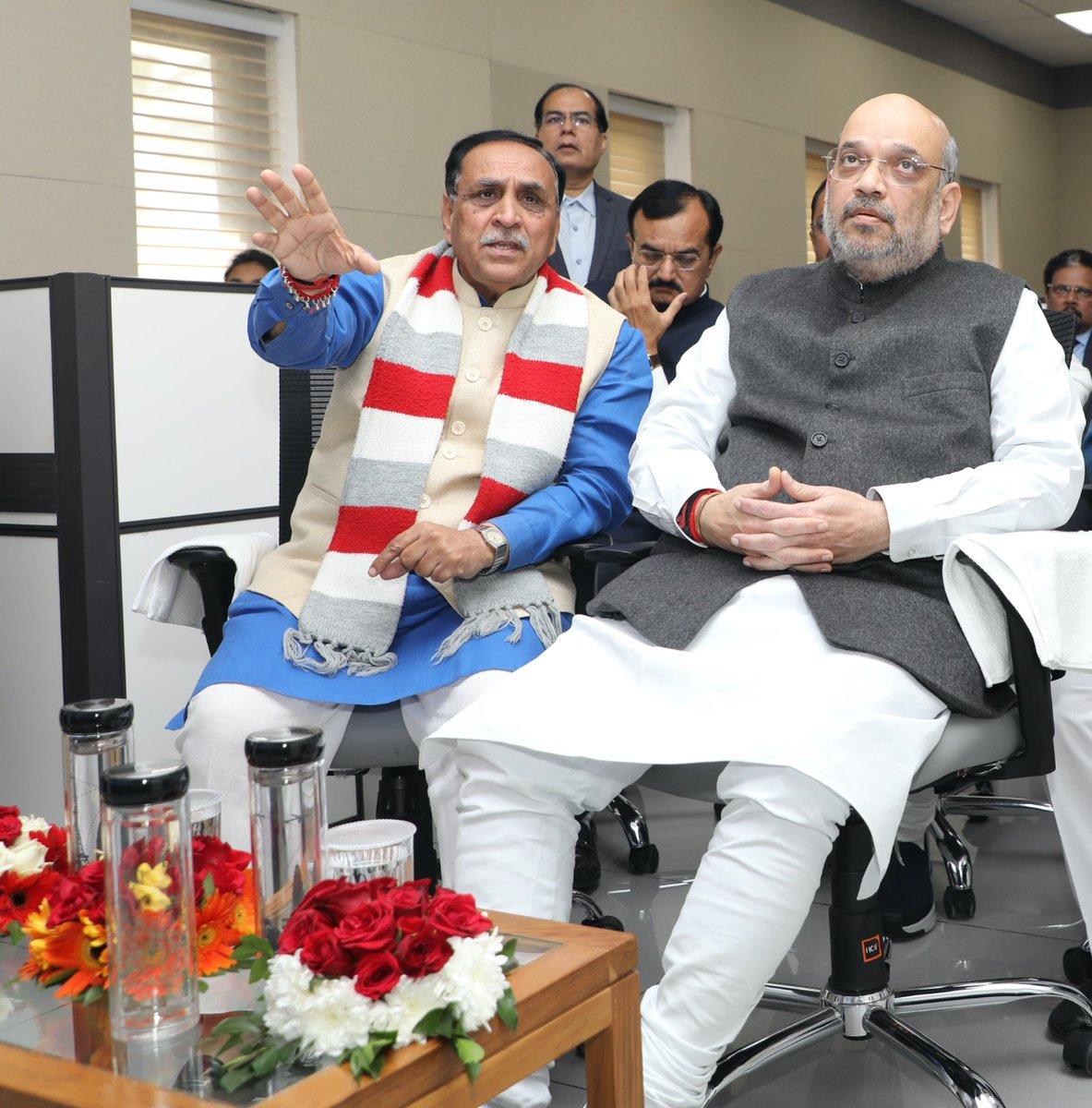Amit Shah visits Gujarat CM bungalow; Rupani showcases CM Dashboard to him