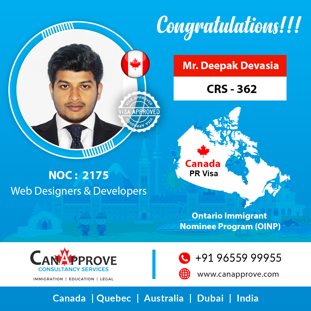 Canapprove On Twitter Congratulations Mr Deepak Devasia On Successfully Obtaining Canada Pr Under Noc 2175 Web Designers Developers We Wish You All Success Client Testimonials Https T Co W3nupanpf3 Canapprove Pr Visa