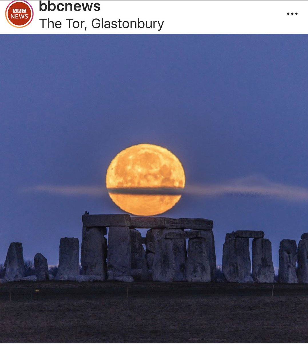 .@bbcnews on IG has the photos by Nick Bull. Happy first full moon of 2020 from beautiful southwest England. I've been to Stonehenge many times and you want to reflect on the Druids but end up thinking about Spinal Tap. 😂