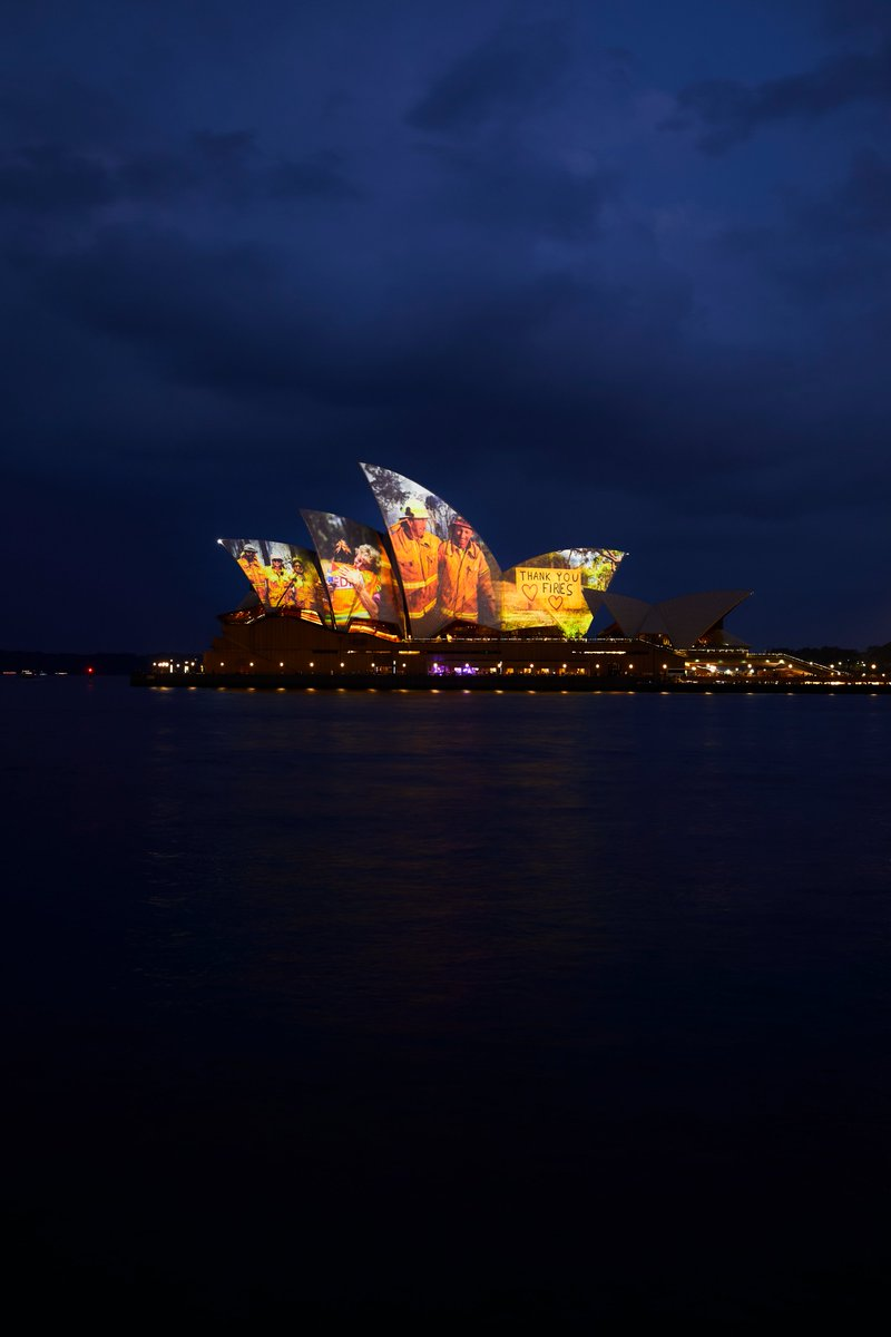 Tonight, we are illuminating the Sydney Opera House sails to show our support for everyone affected by the Australian bushfires. We want to send a message of hope and strength, and importantly to thank the emergency services and volunteers for their incredible efforts and courage