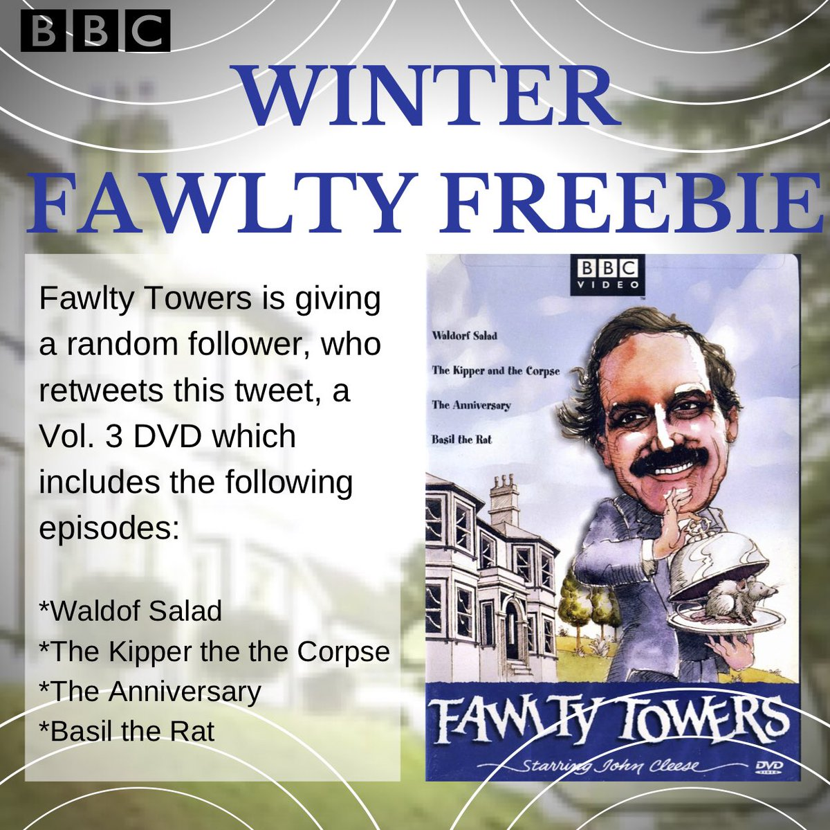 Fawlty Towers is giving a random follower, who retweets this tweet, a Vol. 3 DVD.  Winner to be revealed on Monday.  Follow and retweet! #FawltyFreebie  🇬🇧
