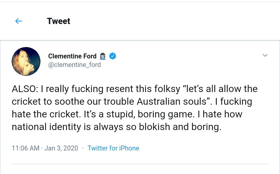#ClementineFord hates #cricket & so much else. @clementine_ford, you might want to consider the fact that the blokey cricket raises millions of dollars for breast cancer every year #PinkTest. #AUSvNZ #PinkTest #breastcancer @McGrathFdn #auspol #SCG #Sydney #australia