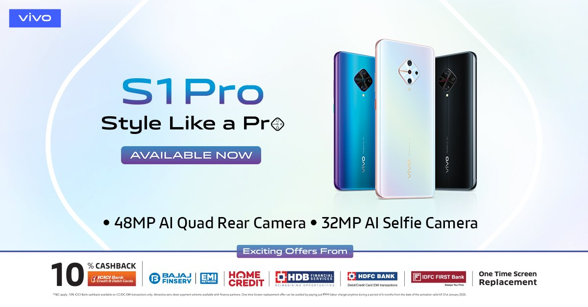 #StyleLikeAPro with the 48MP AI Quad Rear Camera & 32MP AI Selfie Camera on #vivoS1Pro.Starting at INR 19,990/-Enjoy 10% cashback on ICICI Bank & One Time Screen Replacement on every purchase. Available today at nearby stores, know more: http://bit.ly/2FhaiH1