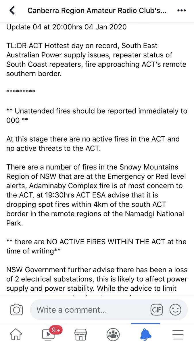 #vk1 #wicen #emcomm update as at 2000hrs local 04012020.  On the #NSWRFS #AustralianBushfire   @ACT_ESA