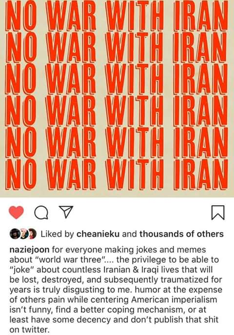 Im a natural born citizen of the US, descendant of European immigrants. I stand with the Innocents in the Middle East. #NoWarWithIran