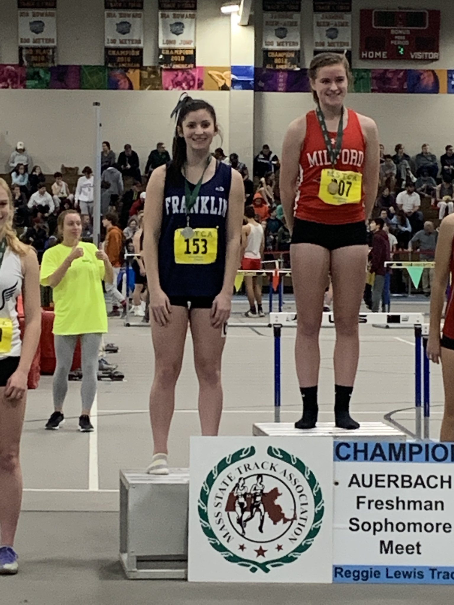 Jill Fenerty takes 2nd in the 300m race for the Fr/So meet!