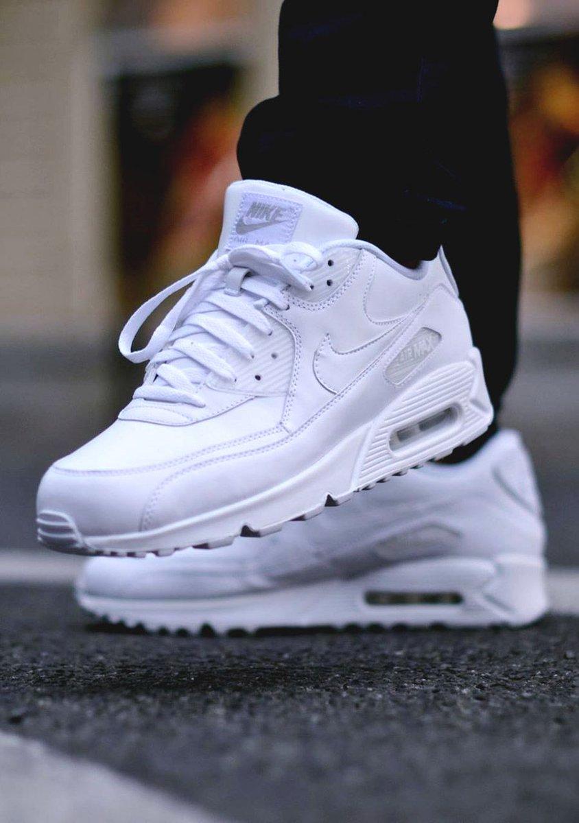 Air Max 90 Triple White On Feet 027a9a