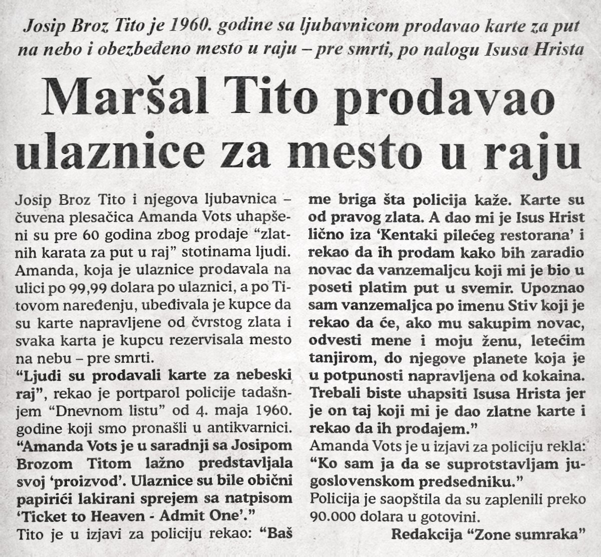 Maršal Tito prodavao ulaznice za mesto u raju