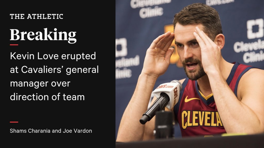 Latest on Kevin Love's emotional outburst toward Cavs GM on Saturday, following $1,000 team fine for bench incident in Toronto. Link on @TheAthleticNBA: https://t.co/Ejy1s6ZVwH https://t.co/2N2AOtnHlI
