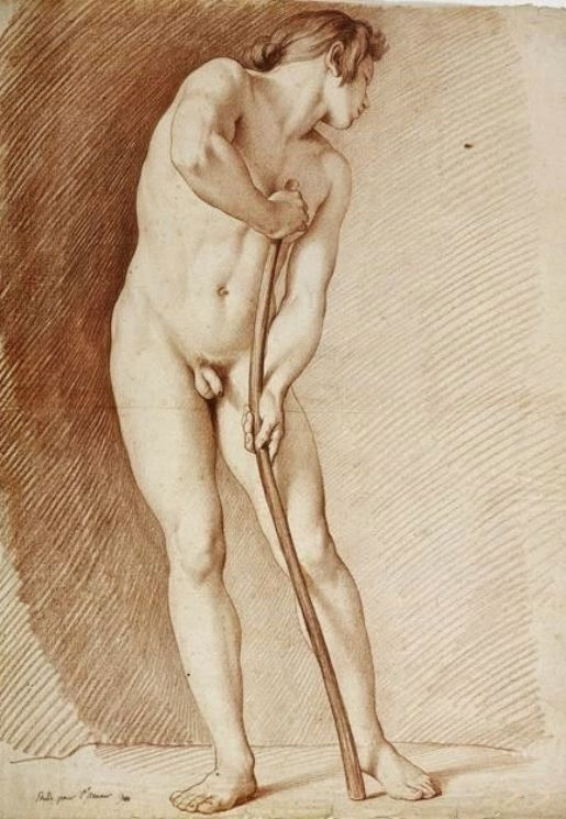 Male Nude Study Art by French artist Edmé Bouchardon (1698-1762)