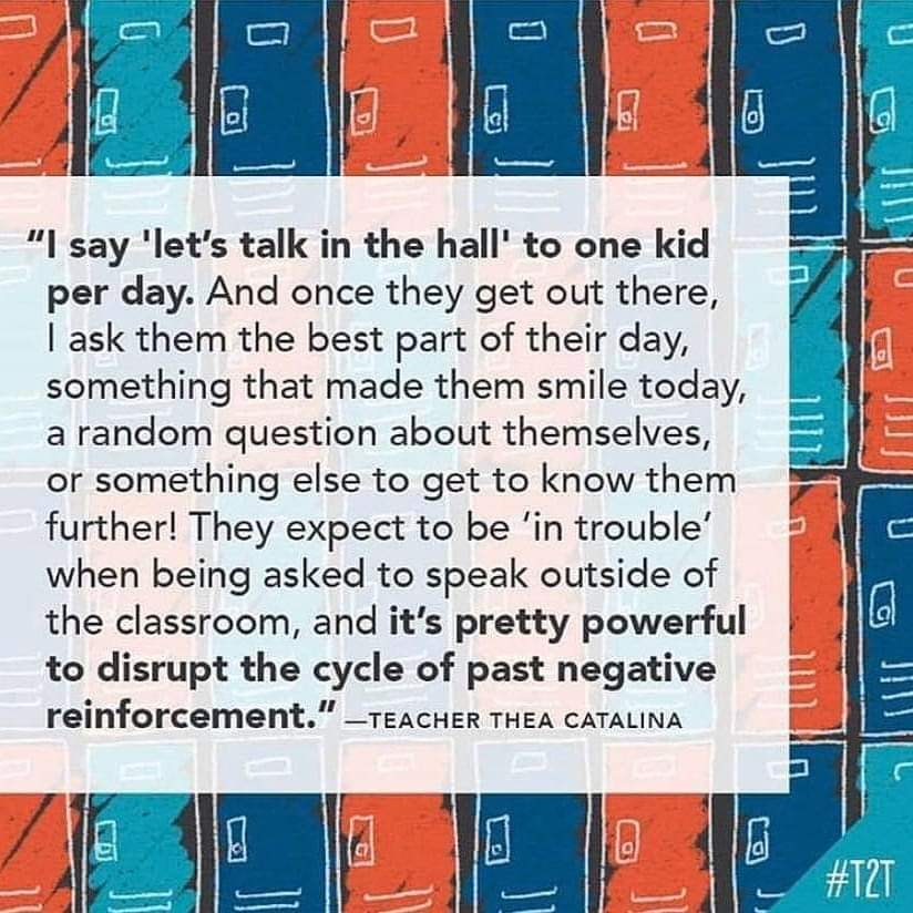 #SEL #talkinthehall via @teacher2teacher #relationships #edchat