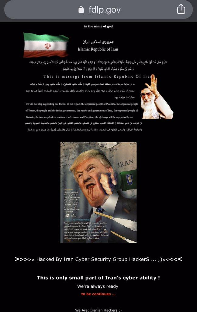 🔴🇺🇸 EUA URGENTE   Site do governo norte-americano http://fdlp.gov hackeado com mensagem pró-Irã