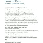 Image for the Tweet beginning: A Prayer for Peace in
