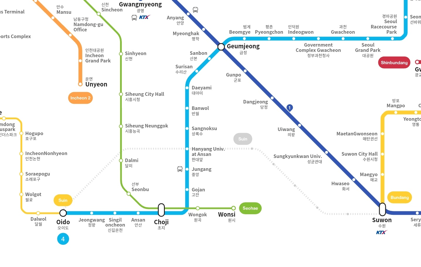 Suwon Subway Map.Kojects On Twitter Seoul Will Extend The Following Subway Lines In 2020 Adding Over 40 Km Of Rail Line 5 Towards Hanam Line 7 For Two Stations Incheon Subway