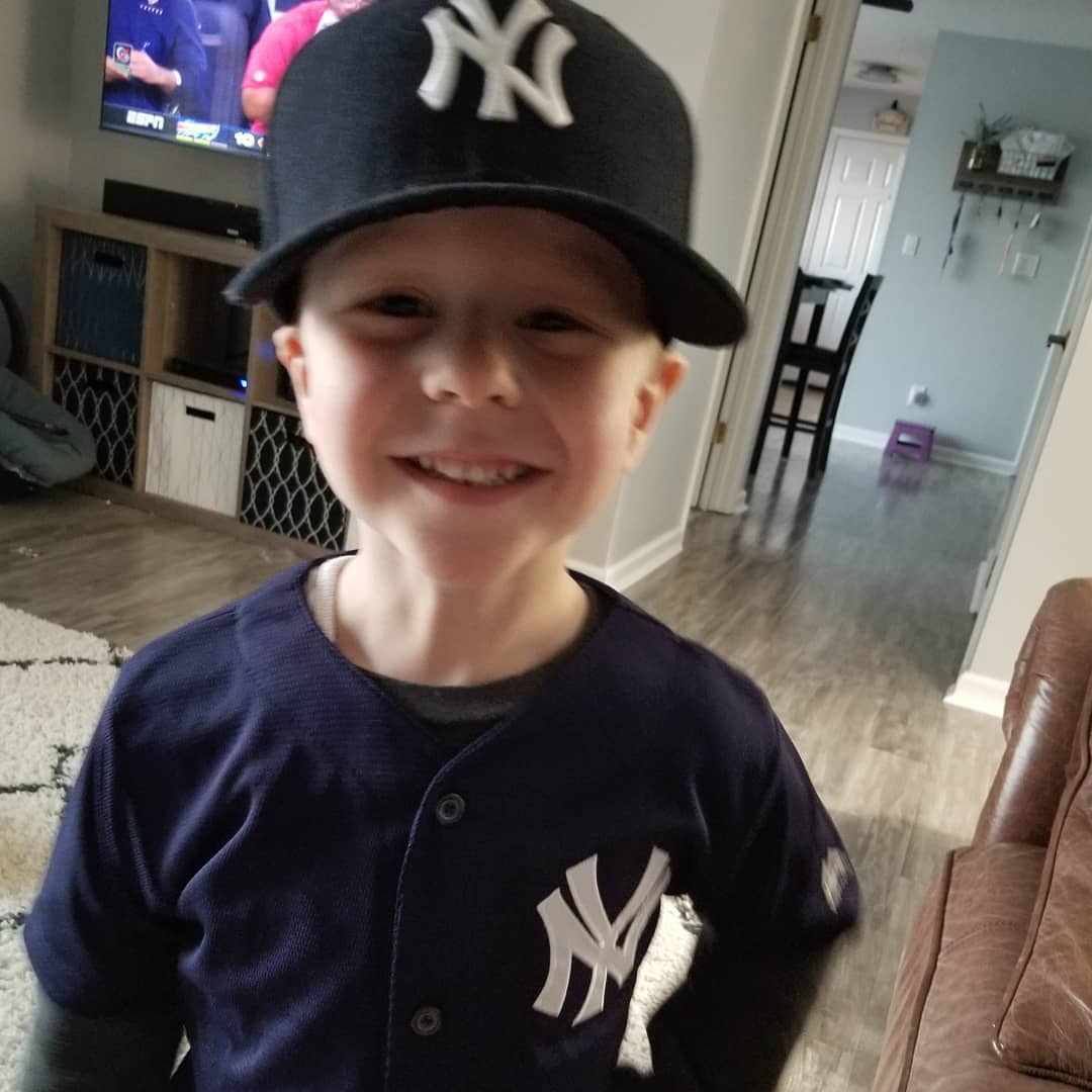 Ronin also received his @TorresGleyber jersey this afternoon! This 3 year old LOVES 'his' @Yankees! #GleyberDay