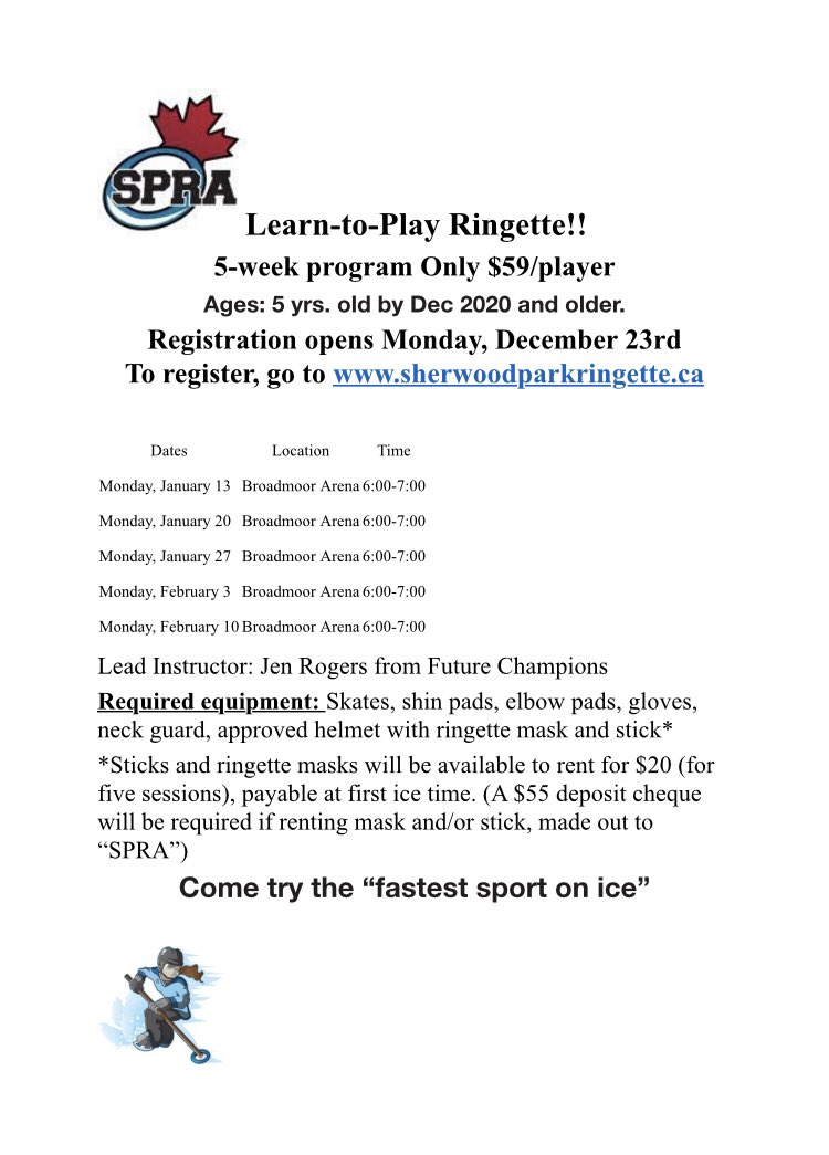 Register now for our Learn to Play Program!  Starts Monday January 13th!  A great chance to try out the sport! #spra #ringetterocks pic.twitter.com/rKk88hBxUa