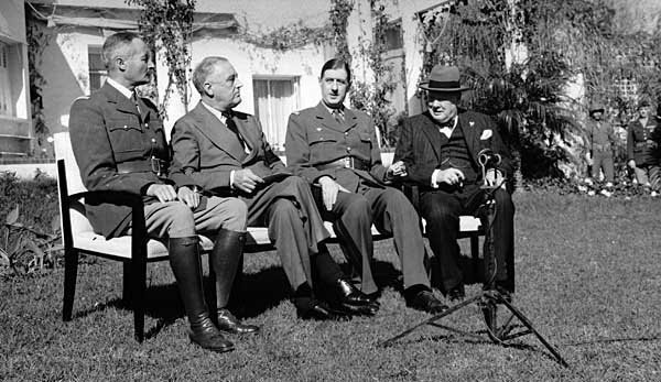 On this day in 1943, Allied leaders meet in Casablanca where they demand Germanys unconditional surrender.