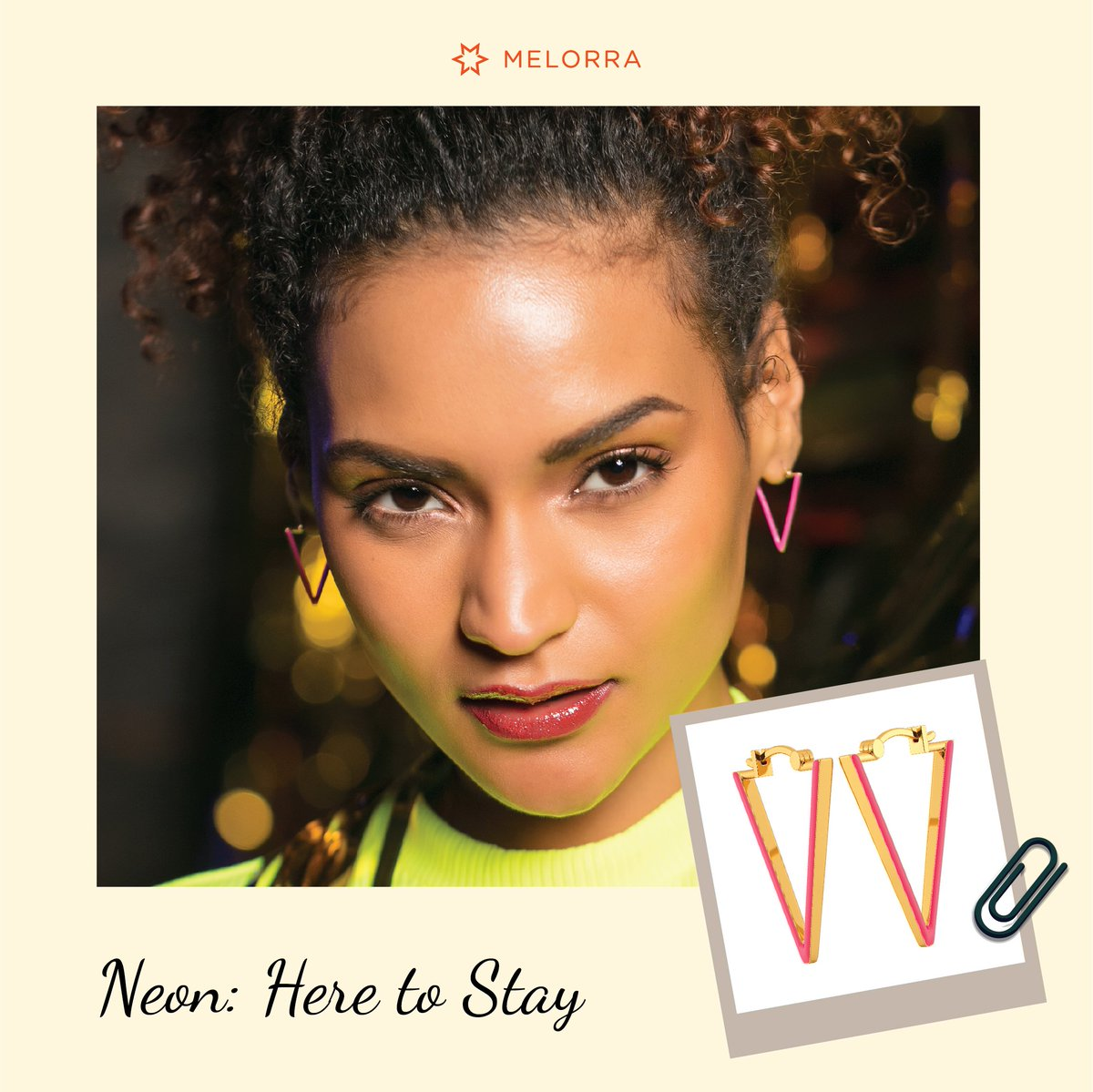 Glow in Neon! 😍  Add a bit of quirk and sass into your everyday outfit with brighter-than-bright colours of the season.  Make them a part of your jewellery box >   #Melorra #EverydayFineJewellery #TrendInspired #AffordableGold