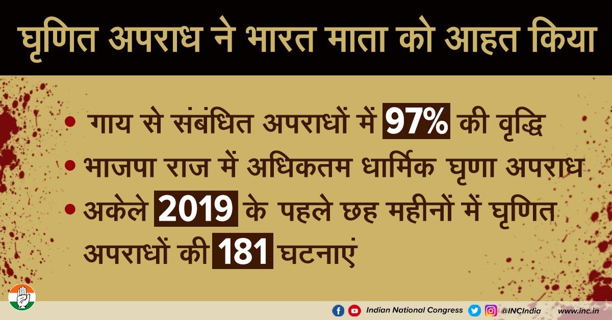 देश में घृणा अपराधों में तेजी से वृद्धि, हर मौके पर नफरत फैलाने वाले भाजपा का प्रत्यक्ष परिणाम है। हमारे देश में नफरत के लिए जोई जगह नहीं हैं, भाजपा की नफरत की राजनीति भारत विरोधी है।