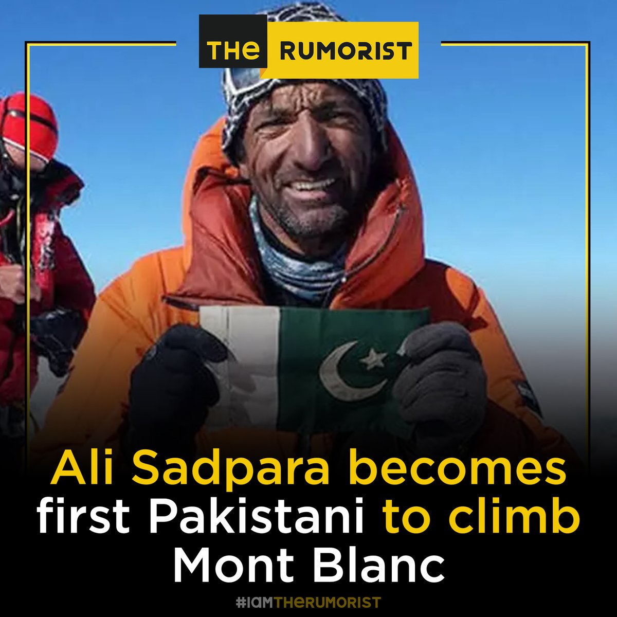 Renowned Pakis­­­tani mountaineer from #Skardu #MohammadAliSadpara is the first Pakistani climber to scale #MontBlanc, which rises 4,808 metres above sea level.  #TheRumorist | #IamTheRumorist #adventure #adventurer #RightOfSelfDeterminationDay #QuaideAwam #sadpara