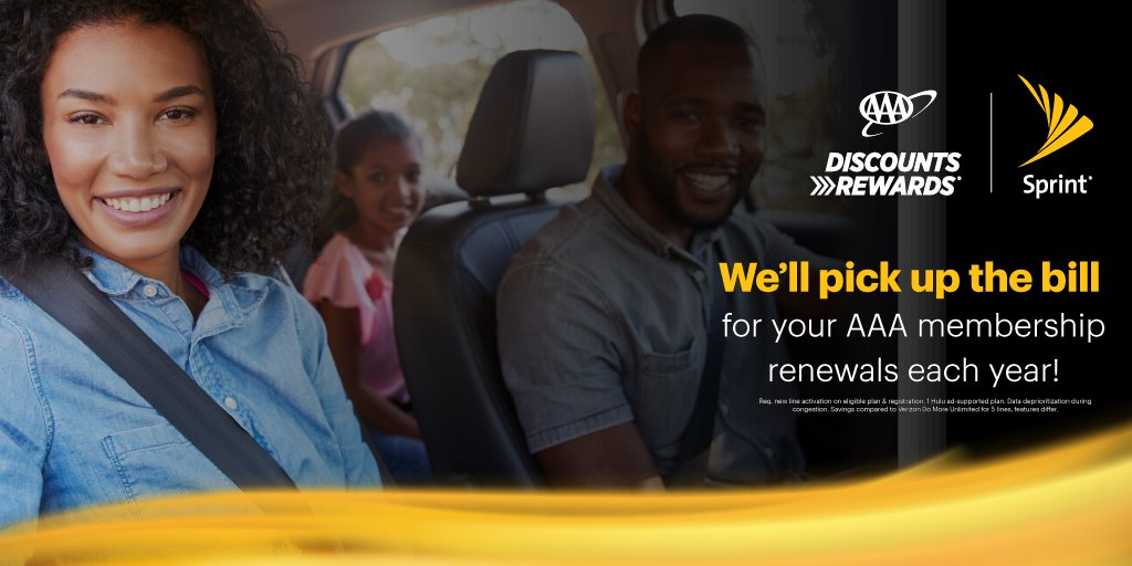 You get more savings with Sprint, and now with @sprint Perks, AAA members get even more. Sprint will pick up the bill for your AAA membership renewals each year! Switch to Sprint to get great features like Hulu and Tidal with Unlimited Plus. #AAADiscounts