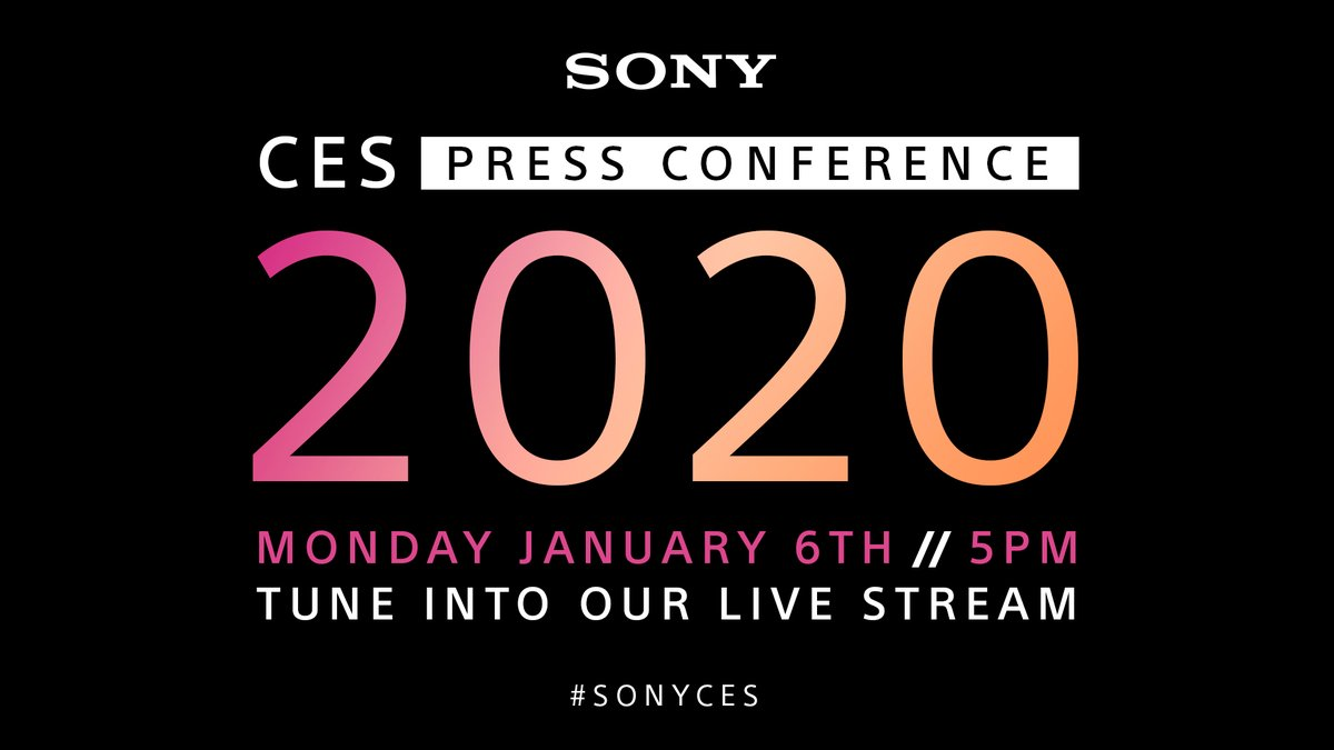 Don't forget! Tune in tomorrow,  Monday, January 6th, at 5 p.m. (PT) to watch the Sony CES 2020 Press Conference streamed live from Las Vegas 🎬 Get notified here: http://bit.ly/CES2020Sony  #SonyCES