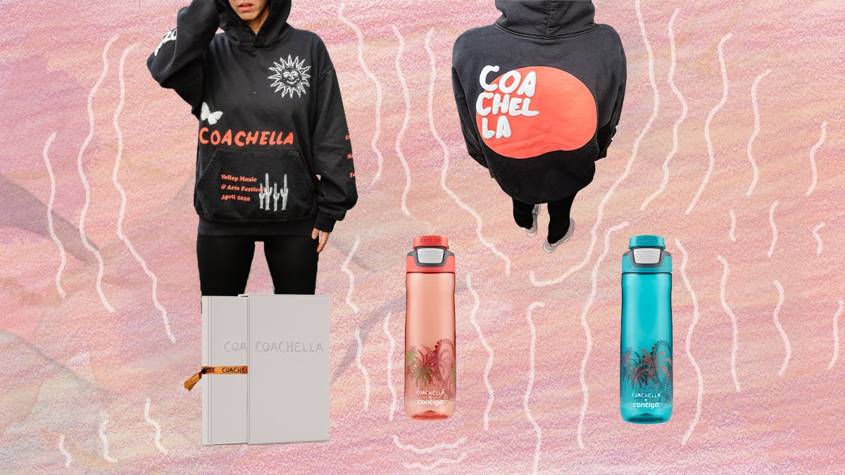 """Add exclusive Coachella merch to your order including a limited edition hoodie, the 400+ page """"Coachella   The Photographs: 1999-2019"""" coffee table book & limited edition @GoContigo reusable water bottle. A festival pass is not required for purchase. https://t.co/MPwqASY8vf"""