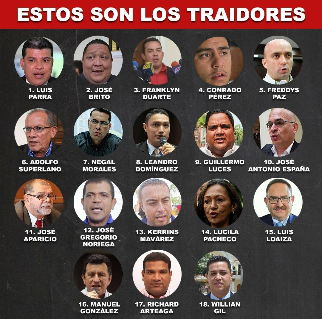 Esos son los diputados que se unieron al PSUV y a Maduro en las votaciones de la AN. Vean sus caras, reconócelos.