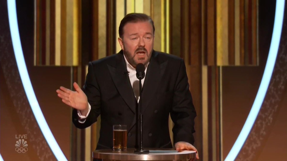 """""""If you win, come up, accept your little award, thank your agent and your God and f— off."""" Host @rickygervais calls for no politics at the #GoldenGlobes"""