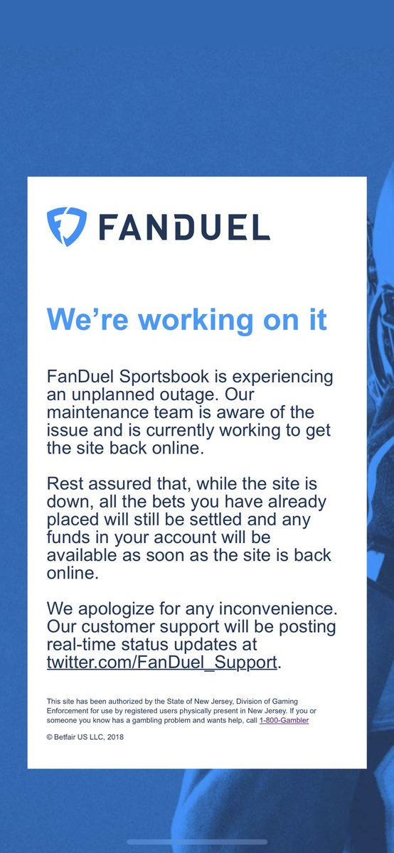 Some iOS users in NJ have reported that they are frozen on the page in the attached image. If you're experiencing this issue, please uninstall and reinstall your FanDuel Sportsbook app. Sorry for the inconvenience.
