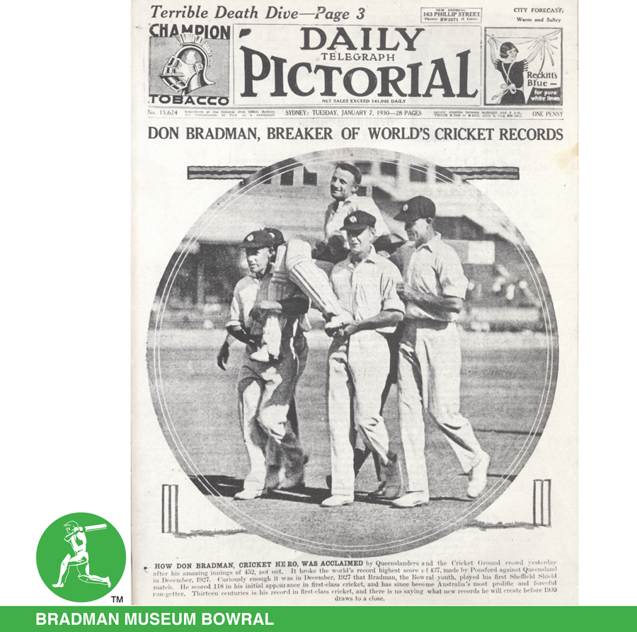 ON THIS DAY 1930: NSW batsman #DonBradman scores a world record 452 not out in a #SheffieldShield match against Queensland at the @scg - a score never matched on the ground in 90 years.  For more on the amazing story visit https://g.co/arts/JwgMYUczxEWe2bTg6… @CricketNSW @qldcricket