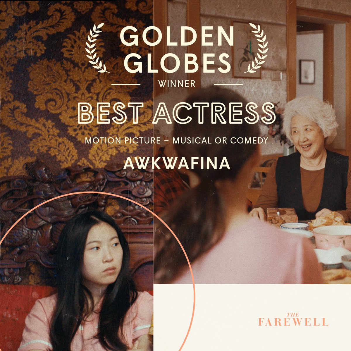 Best Actress. No Lie. Congratulations to @Awkwafina on the #GoldenGlobes WIN for #TheFarewell! 🎊💖