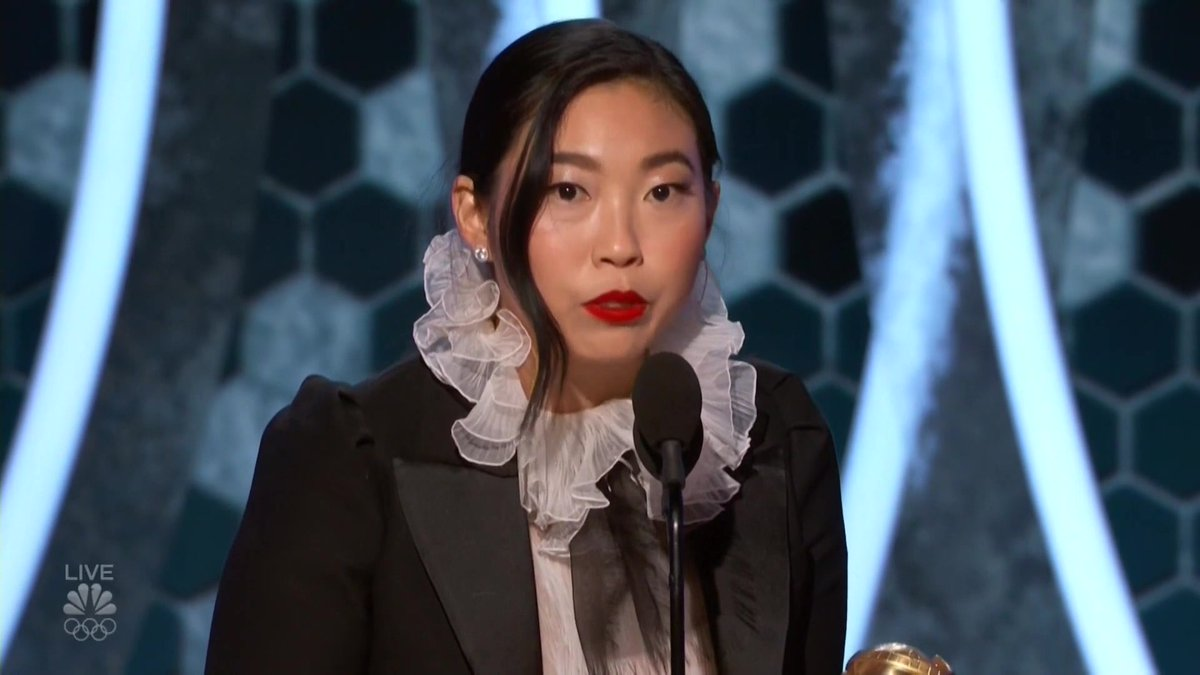 Id like to dedicate this to my dad, Wally, I told you Id get a job dad. #TheFarewell star @awkwafina accepts the award for best actress in a musical or comedy film thr.cm/CfUv6z #GoldenGlobes