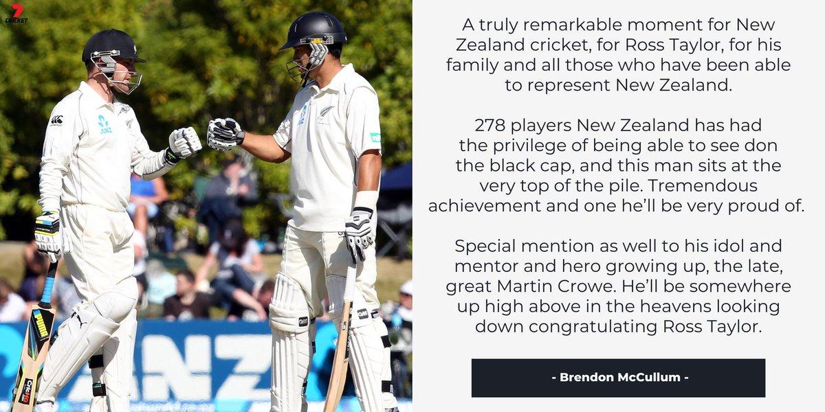 .@Bazmccullum on Ross Taylor becoming the leading run scorer in New Zealand Test cricket history #AUSvNZ