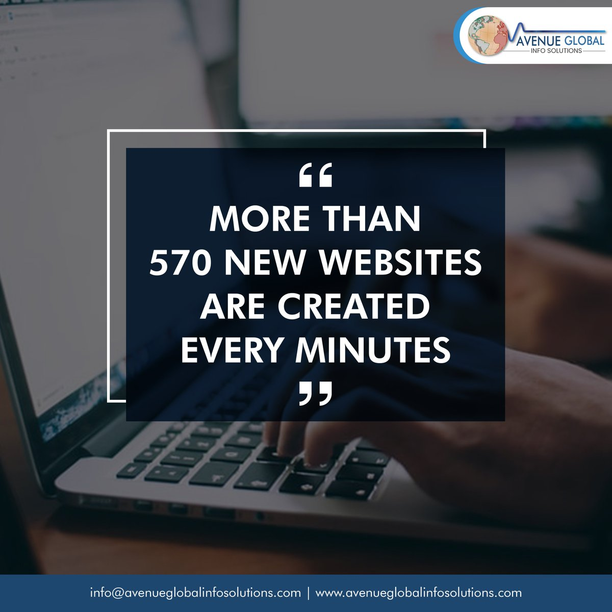 """""""More than 570 websites are created every minutes""""  #facts #websitefacts #whywebdevelopment #webdesigncompany #websitedeveloper #webdesigntips #instatech #instatechno #socialmediamarketing #Avenueglobalinfosolutions #avenueglobal #Websitedevelopment #websitebuilder #ITcompanypic.twitter.com/DGIlb0oUMY"""