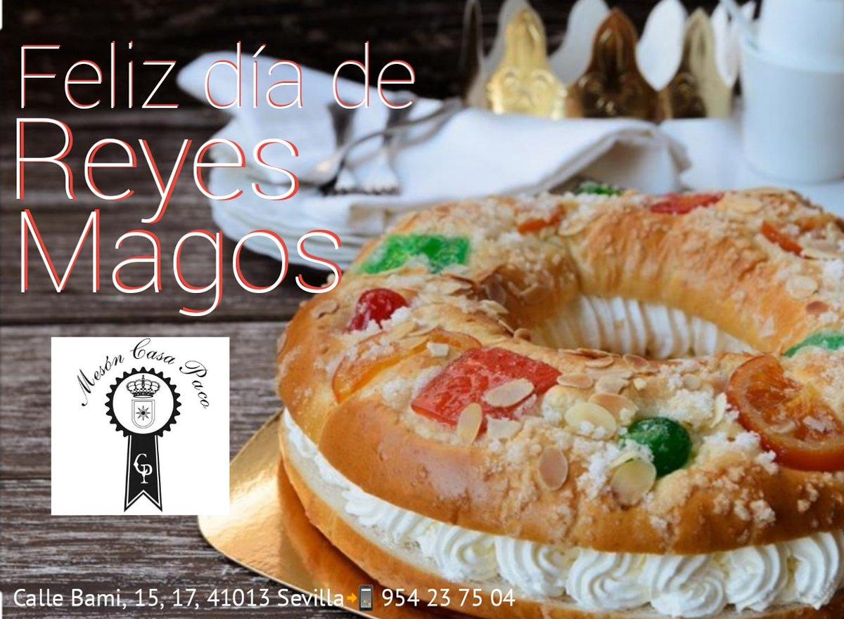 Feliz Día de Reyes Magos  * *  Reservas 954 23 75 04 http://www.mesoncasapaco.es * #MesonCasaPaco #CalleBami15 #Sevilla #Andalucia #Gastronomia #Tradicion #Innovacion #Restaurante #detapasporsevilla #Gastro #GastroSevilla #Tapas #Tapearporsevillapic.twitter.com/KvsLoQ74M2