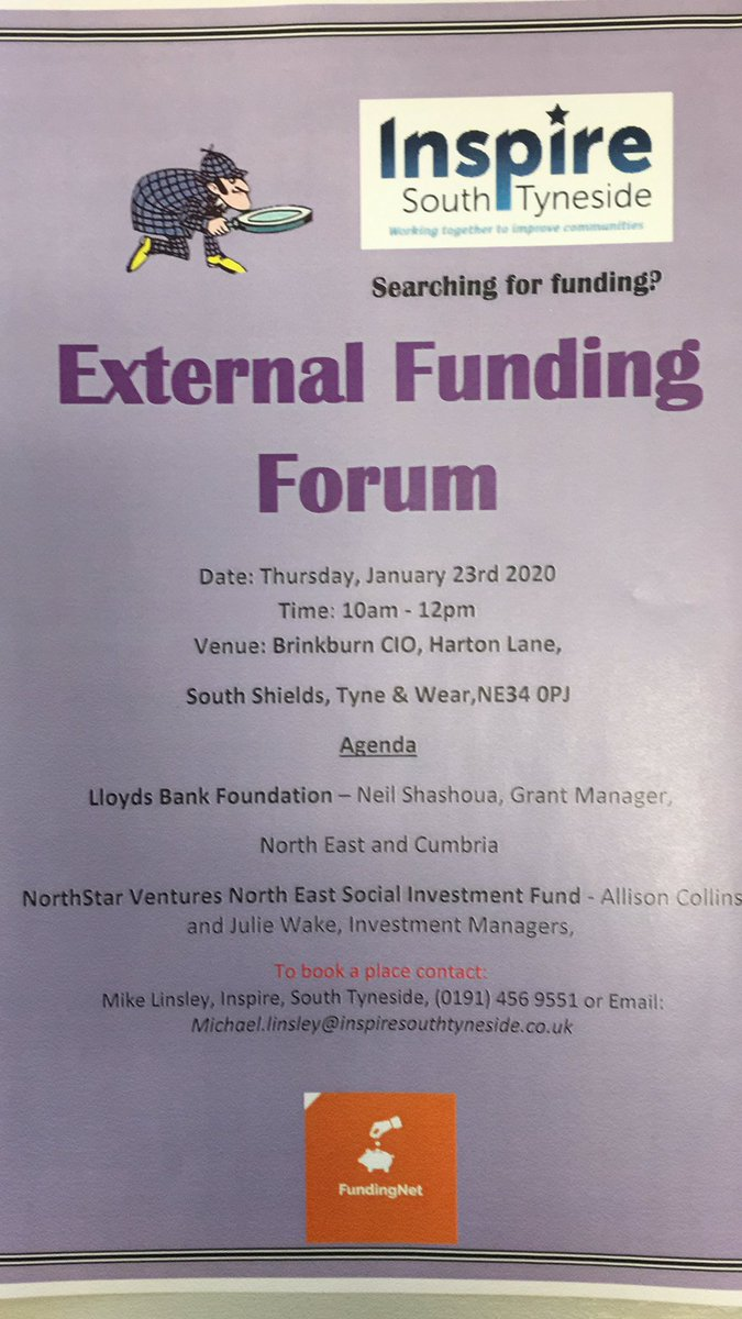 Feeling inspired to develop your 2020 funding plans? Come along to our External Funding Forum, 23 January, Brinkburn CIO, South Shields. Hear from Lloyd's Foundation and North Star Ventures. Contact Inspire to book a place. @InspireSouth @LoveSTyneside