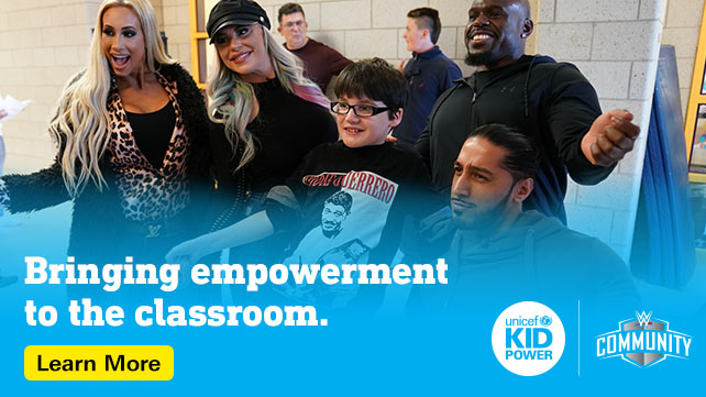 We are thrilled to announce the #RoadtoWrestleMania36 Sweepstakes to find the next #CommunityChampion with @UNICEFKidPower. Learn more about how your school can get involved and win a $2k grant at http://unicefusa.org/WM36