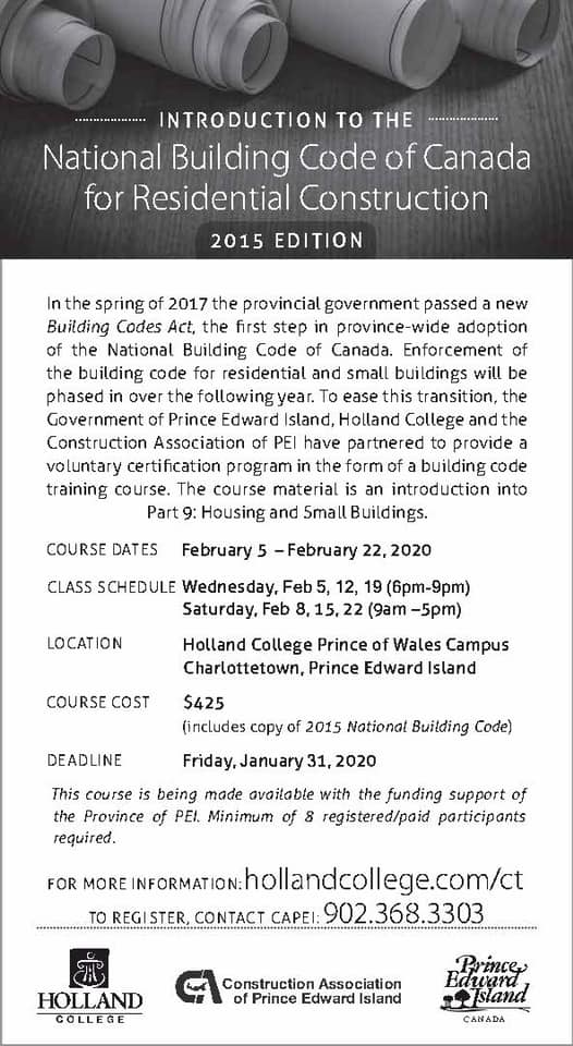 Intro to National Building Code of Canada @ Holland College Prince of Wales Campus