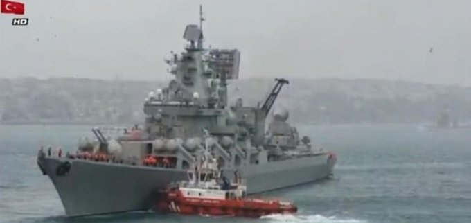 """Російський ракетний крейсер """"Маршал Устинов"""" не зумів пришвартуватися до пірсу в Стамбулі і повернувся на стоянку у відкритому морі - Цензор.НЕТ 4931"""