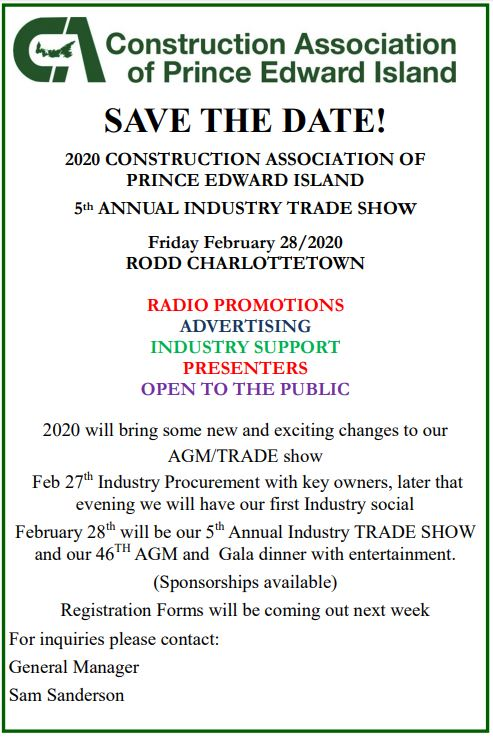 Construction Association of PEI Annual Industrial Trade Show 2020 @ Rodd Charlottetown