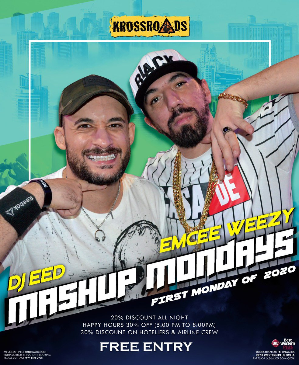 FIRST MONDAY OF 2020!  Let us enjoy the music and party all night with the live performance of DJ EED & EMCEE WEEZY !  #krossroads #bwpdoha #dohanightclub #dohaevents  Located at Top floor, Best Western PlusDoha  For reservations:  6646 2928pic.twitter.com/QM2YTVnnbM