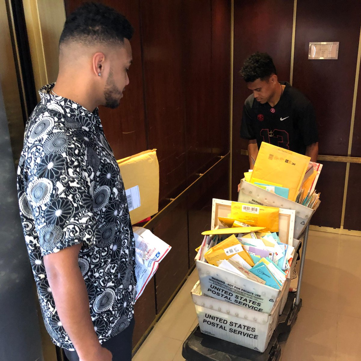 This is all fan mail for @Tuaamann at the @AlabamaFTBL facility 😳