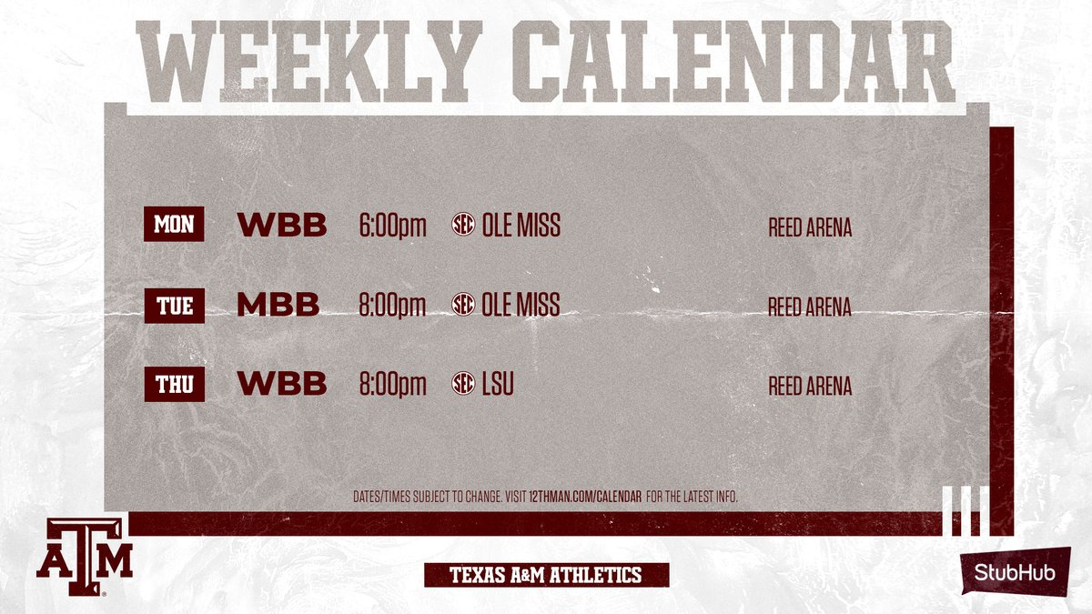 A 👀 at this week's home events: 🎟️ 12thman.com/tickets @StubHub | #GigEm