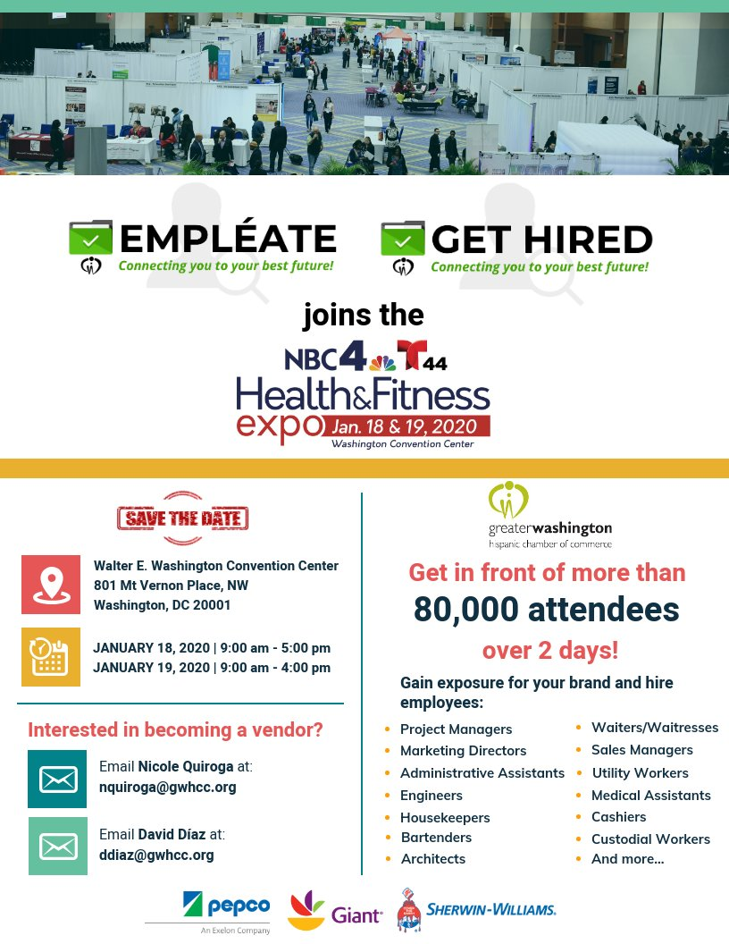 Get in front of more than 80,000 attendees over 2 days! Spots still available for the #GWHCC #Empleate #JobFair at the @nbcwashington and @Telemundo44 Health & Fitness Expo on January 18 & 19, 2020. Contact Nicole Quiroga to become a sponsor & gain exposure for your brand.pic.twitter.com/DND9XwMJcV
