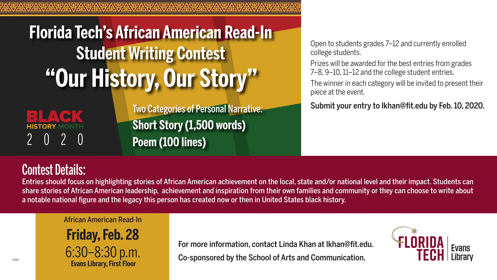 Evans Library On Twitter The Library Is Hosting A Writing Contest For Florida Tech S African American Read In Event To Celebrate Black History Month Entries Are Due By February 10 2020 Fitevanslibrary Floridatech