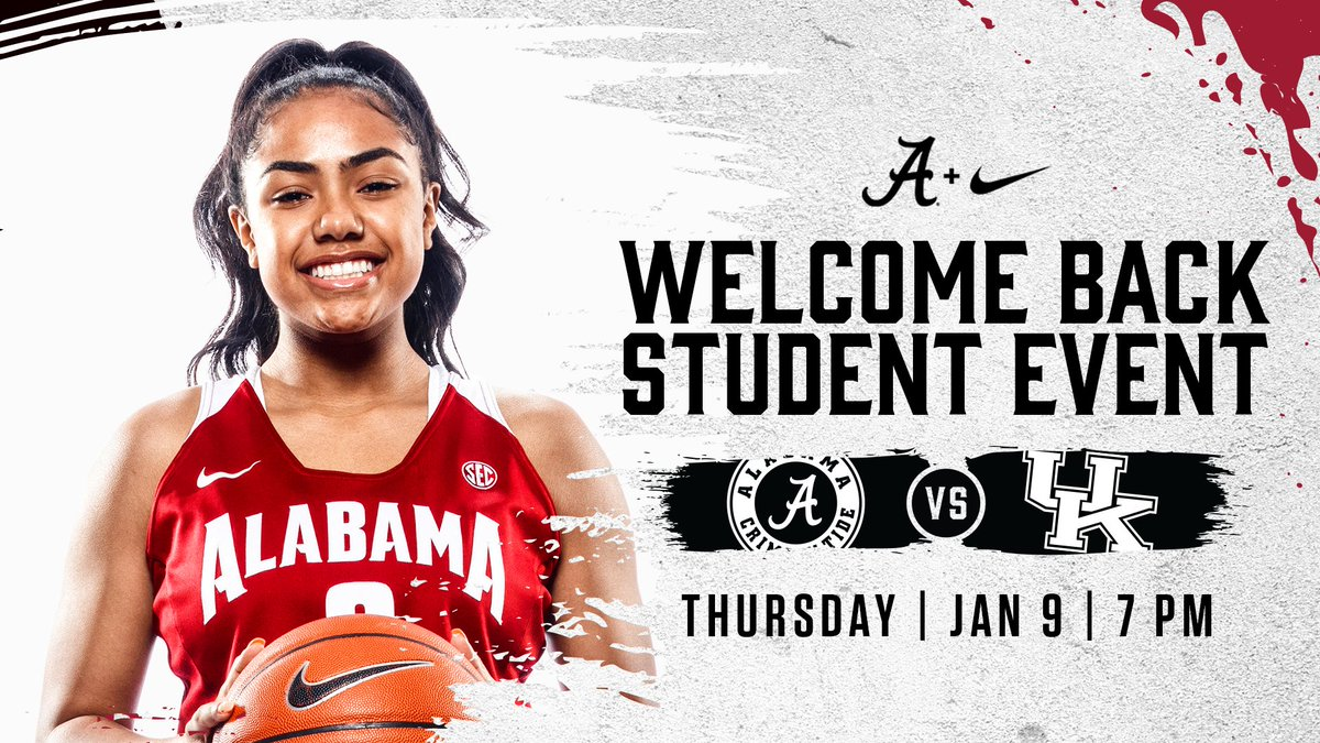 Welcome back students! Start your semester off right with @AlabamaWBB as they face Kentucky on Thursday 🤩 🔜 See you at Coleman!
