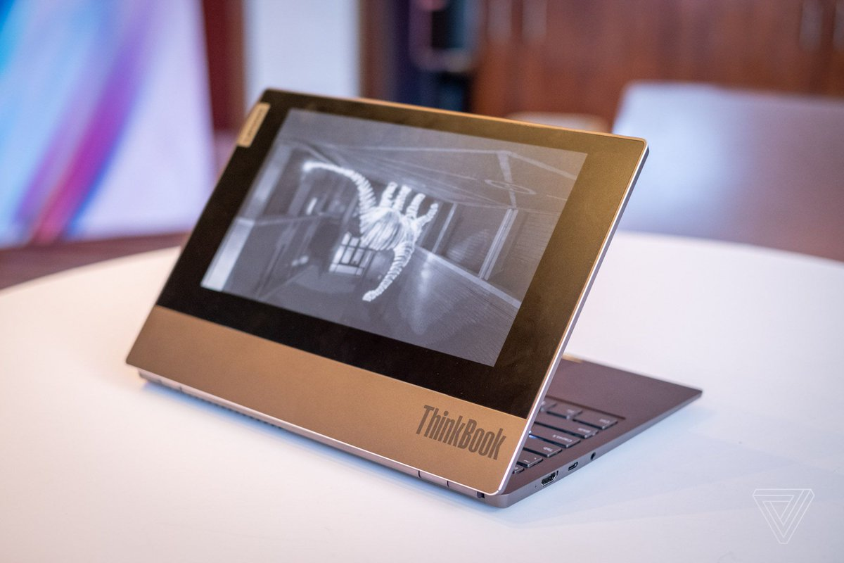 Lenovo's ThinkBook Plus has a giant E Ink screen on the lid