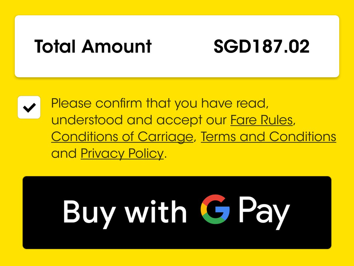 スクートの航空券をアプリで購入したのですが…①シンガポールと日本のクレジットカードをGoogle Payに事前登録②航空券決済前にオアンダ等のFXアプリでレート確認④「Buy with G Pay」を押してレート有利なクレカをGoogle Payで選択これで住所など余計な入力なく航空券購入。G Pay便利すぎる。